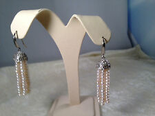 HONORA WHITE CULTURED PEARL 3.5mm TASSEL STERLING EARRINGS (M459-6-14)