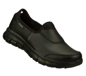Skechers Women Work Sure Track Relax Fit Slip Resistant Black 76536 A5 frnt room
