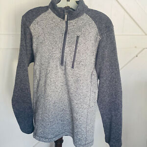 Woolrich Men's Pull Over Sweater 1/4 Zip Polyester Front Pocket Gray Size M