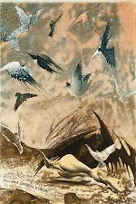 """A Bird Dream,"" Nude,  Birds, Ex libris Bookplate  Etching by Peter Velikov"