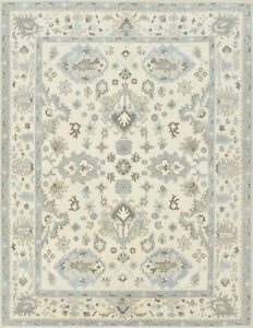 Oushak Rug, 8'x11', Ivory, Hand-Knotted Wool Pile