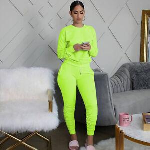 Cotton Blend Pure Color Pleated Sweatpants Set Two Piece Set
