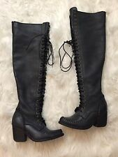 Jeffrey Campbell James Over The Knee Black Leather Lace Up Boots Size 8
