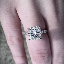 2.70 Ct Genuine Radiant Cut w/ Round Diamond Engagement Ring GIA Certified H, IF
