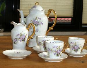 Teile von Kaffeeservice Geschirr ca.1890 Jugendstil Blumen Goldrand Sammlerstück