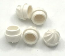 Lego 5 New White Plates Round 1 x 1 with Swirled Top Pieces