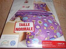 parure de lit housse de couette + taie 1 personne violet imprimé - neuve