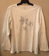 NWT Kim Rogers Women's Plus 3X White Silver Sparkle Snowflake Blouse Top