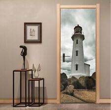 3D Stones under the Tower Self-Adhesive Bedroom Door Mural PVC Door Poster Decal