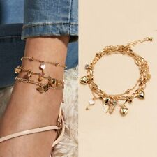 3pcs New Summer Anklet Butterfly Multilayer Ankle Bracelet Beach Women Jewelry