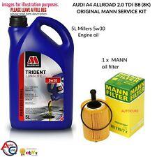 AUDI A4 2.0 ALLROAD 2.0 TDI B8 (8K) 5L MILLER'S OIL WITH GENUINE MANN OIL FILTER