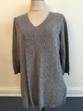 14/16 Avenue Women's Plus Size Gray V-Neck Cable Knit Sweater Very Soft 3/4 Slee