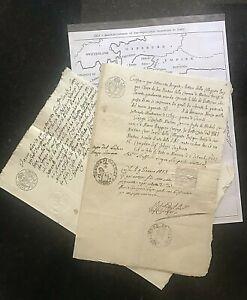 Original MANUSCRIPTS~ITALY-1800;1812;=SICILY=REVENUE STAMPS= 2dcs#01754