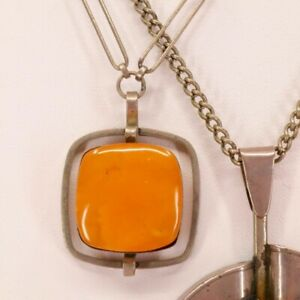 VINTAGE, RARE, BUTTERSCOTCH AMBER SQUARE PENDANT, Metal Chain, Solid Amber, 66cm