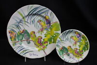 Rare 2 Michele Kennedy Gallery St. Lucia Parrots Bone China Plates MINT England