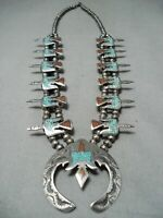 AMAZING VINTAGE NAVAJO TURQUOISE INLAY STERLING SILVER SQUASH BLOSSOM NECKLACE