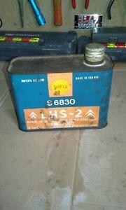 ancien bidon huile shell citroen lhs-2 vintage garage
