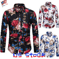 Men Shirts Retro Floral Print Long Sleeve Collar Slim Casual Dress Tops Tee US