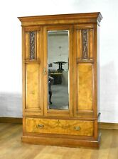 Antique carved mirror door wardrobe