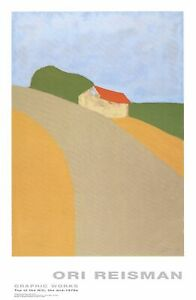 ORI REISMAN Top of the Hill 37 x 24 Poster 1994 Contemporary Gray, Green, Red, O