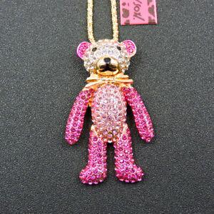 Charm Cute Animal Pink Crystal Bow Bear Pendant Betsey Johnson Long Necklace