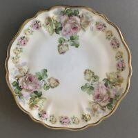 "Beyer & Bock Royal Rudolstadt Prussia Pink Roses Gold Rim Cake Plate 13"" Charger"