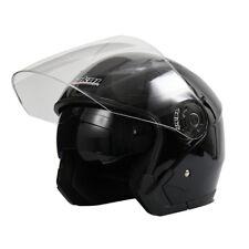 Helmet Open Face Scooter Motorcycle Motorbike Helmet Dual Sun Visor Black Blue .