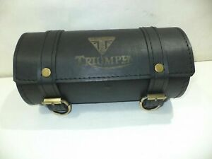New Black Color Pure Leather Triumph Engraved Tool Roll Bag