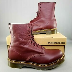 Dr Martens 1460 Pascal Virginia Cherry Red 8-Eye Combat Boots Womens Size 6