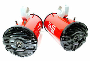 600 Watt Kenwood Marine Wakeboard Tower Speakers Metallic Bling Red SJS Dezign