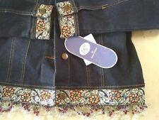 Women's DG2 Diane Gilman Denim Jacket Embellished Embroidered Beaded Sz XS NWT!