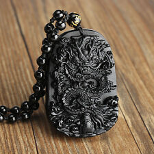 Black Natural Obsidian Carved Dragon Buddha Chinese Lucky Pendants + Necklace