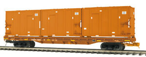 MTH 20-98675 East Carbon Development Orange 60' Flat Car w/Trash Containers#7024