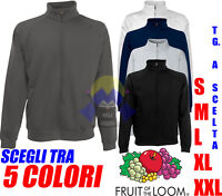 FELPA ZIP per Uomo FRUIT OF THE LOOM S M L XL Intera MANICHE LUNGHE CALDA Basico