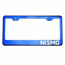 Blue Chrome License Plate Frame NISMO Laser Etched Metal Screw Cap