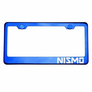 Blue Chrome License Plate Frame NISMO Laser Etched Metal Screw Cap
