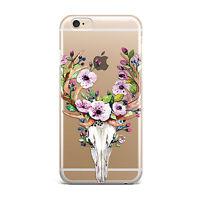 Deer Skull Flower Horn Flexible TPU Soft Case Rubber Silicone Skin Cover