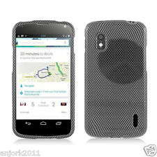 LG Nexus 4 E960 Google Phone Snap-On Case Cover Accessory Black Carbon Fiber