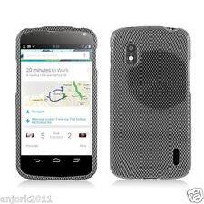 LG Nexus 4 E960 Google Phone Snap-On Case Cover Accessory Black Carbon Fiber