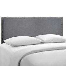 LexMod Region Queen Nailhead Upholstered Headboard MOD-5215-Smoke MOD-5215-SMK