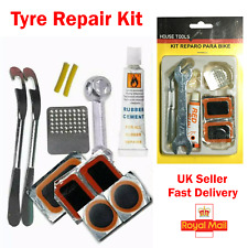 Bike Tyre Tube Bicycle Puncture Repair Kit Cycle Patches Glue Spanner Tool Lever