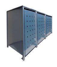 3er Mülltonnenschrank Metall Mülltonnenbox Müllbox Metall kom. Grau 240l