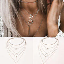 Fashion Womens Multi layer Geometric Bar Stick Triangle Chain Choker Necklace
