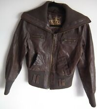 NEW LOOK Women 100% Distressed Real Leather Bomber Brown Jacket Coat UK 12
