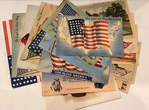 Lot of Assorted Vintage USA Patriotic Flag Allegiance Non-Postmarked Postcards