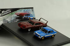 MOVIE FAST & AND FURIOUS 6/2 Car Set ESCORT Charger Daytona 1:43 Greenlight