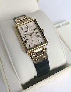 Anne Klein Watch * 3752CRBK Gold Rectangular Dial Black Leather for Women