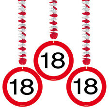 18TH BIRTHDAY PARTY SET 3 HANGING DECORATIONS AGE TRAFFIC SIGN