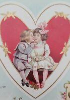 Valentine Embossed Postcard with Victorian Boy & Girl Kissing Wessler 1910