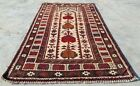 Authentic Hand Knotted Vintage Afghan Maldar Balouch Wool Area Rug 4 x 3 Ft